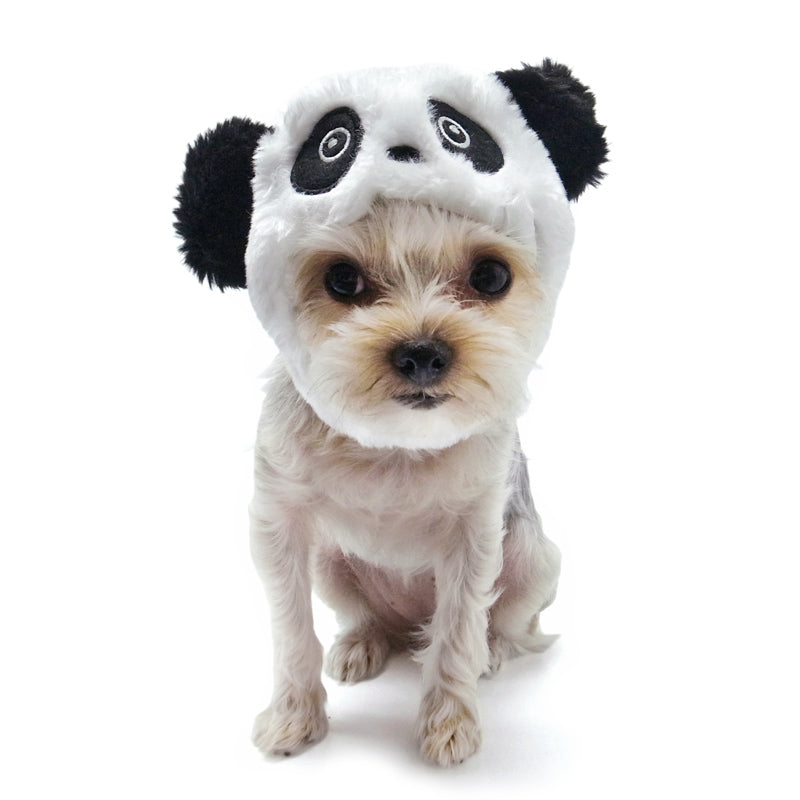 Panda Inspired Black & White Ultra-Soft Fluffy Warm Designer Pet Dog Hat Costume