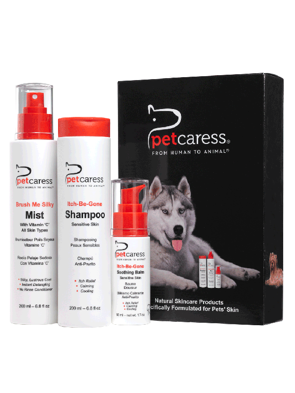 Shampoo, Balm & Spray Mist for Itchy Irritated Pet Skin Bundle Pack Set