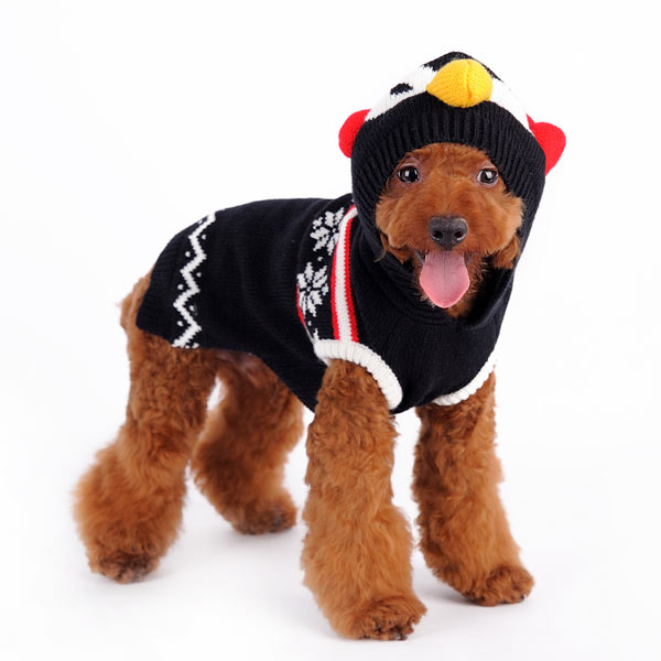 Penguin Snowflakes Christmas Holiday Inspired Designer Warm Ultra-Soft Pet Dog Sweater Costume