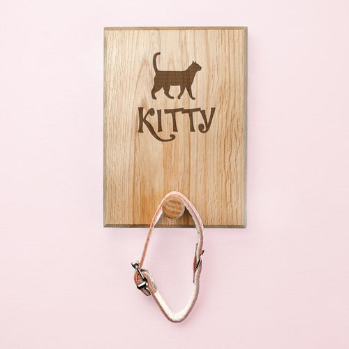 Cat Silhouette Wood Peg Hook Leash Wall Mount (Personalize)