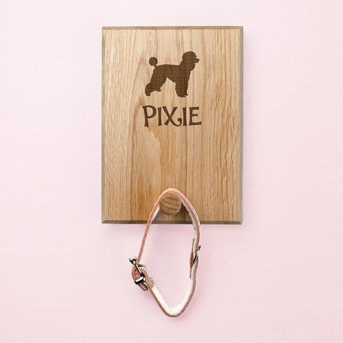 Dog Silhouette Peg Hook Leash Wall Mount (Personalize)