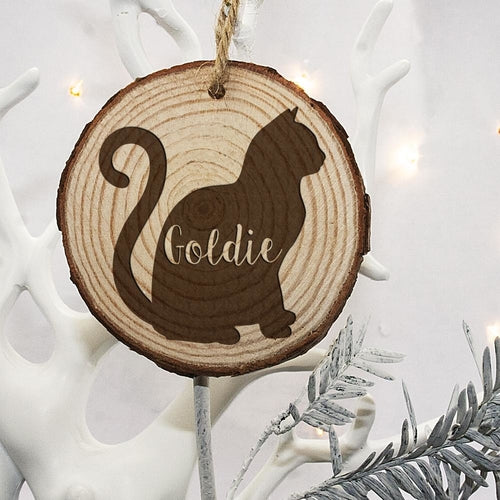 Engraved Cat Silhouette Christmas Decor (Personalize)