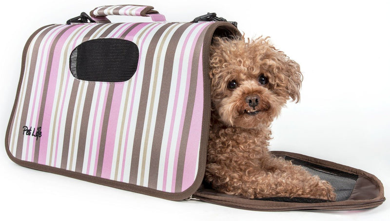 Pink Stripes Paw Patterned Airline-Approved Zippered Folding Lightweight Collapsible Travel Small Pet Dog Bag Carrier