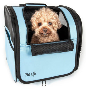 Pawdon Me Wheeled Airline Approved Travel Collapsible Rolling Wheeled Pet Dog Carrier