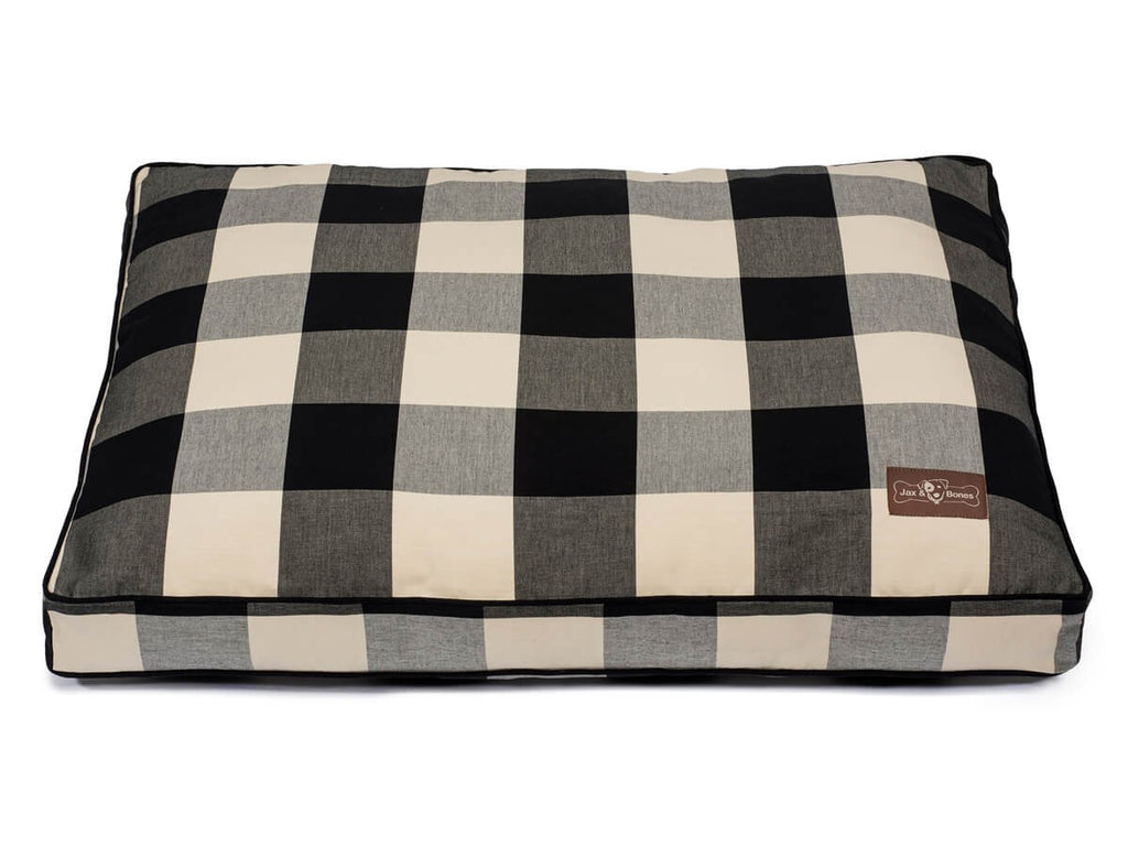 Buffalo Check Plaid Black Hypo-Allergenic Designer Pillow USA Made Dog Bed