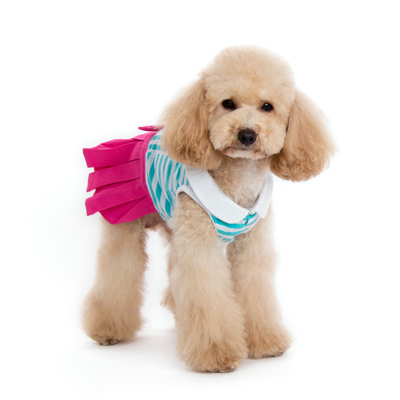 Pleated Tennis Hot Pink Pinstripe Designer Dog Dress