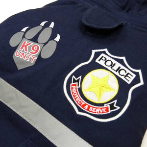 Police Cop Uniform Waterproof Warm Fleece Removable Hooded Designer Dog Jacket