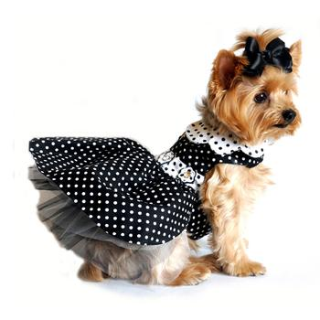 Black & White Polka Dot Designer Dog Dress with Matching Leash