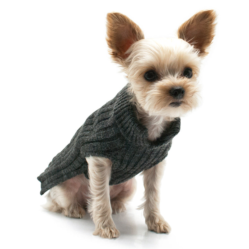 PP Charcoal Sleeveless Knit Turtleneck Apparel Luxury Dog Shirt