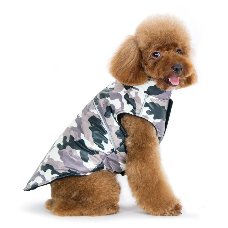 PP Camouflage Water-Resistant Shell Fleece-Lined Designer Warm Sporty Dog Coat Jacket