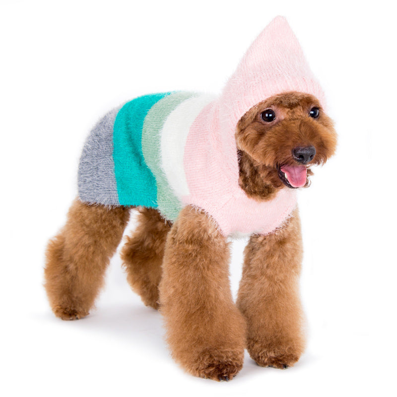 Girly PP Pastel Pink & Multi-Color Stripes Fuzzy Hoodie Warm Designer Pet Dog Sweater