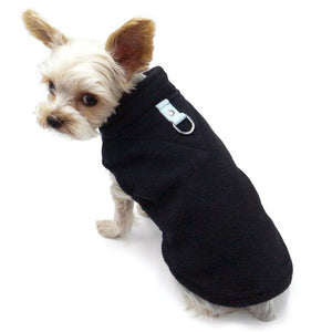 Black PP Essential Fleece Warm Pet Apparel Dog Vest Harness Zipper Shirt