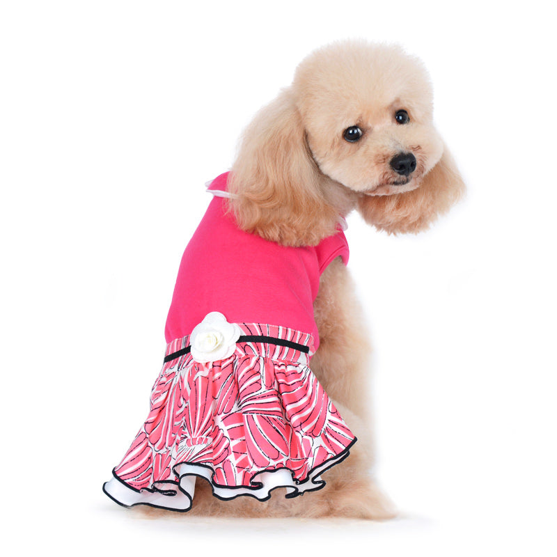Lady Flower Pink Designer Dog Dress