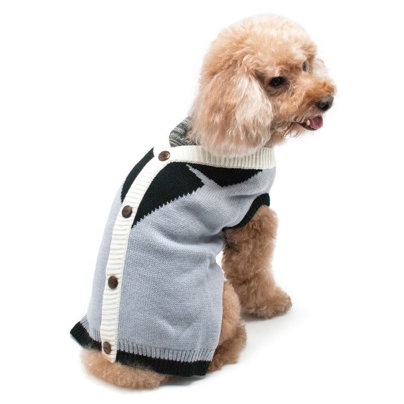 Professor Cardigan Grey Mix Knit Collar & Decorative Buttons Soft Designer Pet Dog Coat Sweater