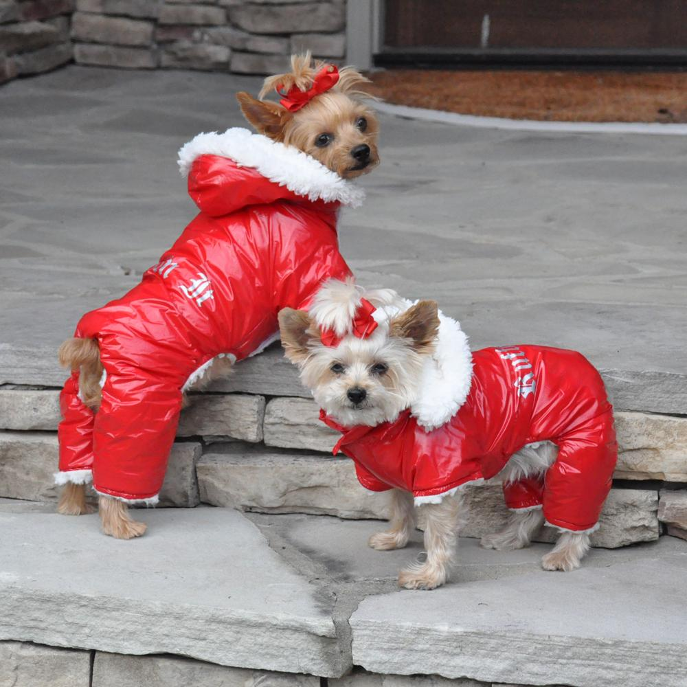 Red Ruffin It Warm Thick Sherpa Fleece Dog Snow Suit with Removable Hood