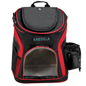 Katziela Designer Red & Black Voyager Outdoor Travel Fleece Lined Cozy Soft Pet Cat & Dog Backpack
