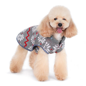 Snowflakes Reversible Sweater Water-Resistant Hooded Designer Pet Dog Trench Coat