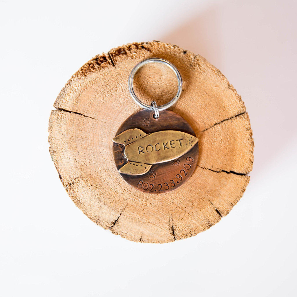 Rocket Artisan Handstamped Pet Dog ID Tag (Personalize)