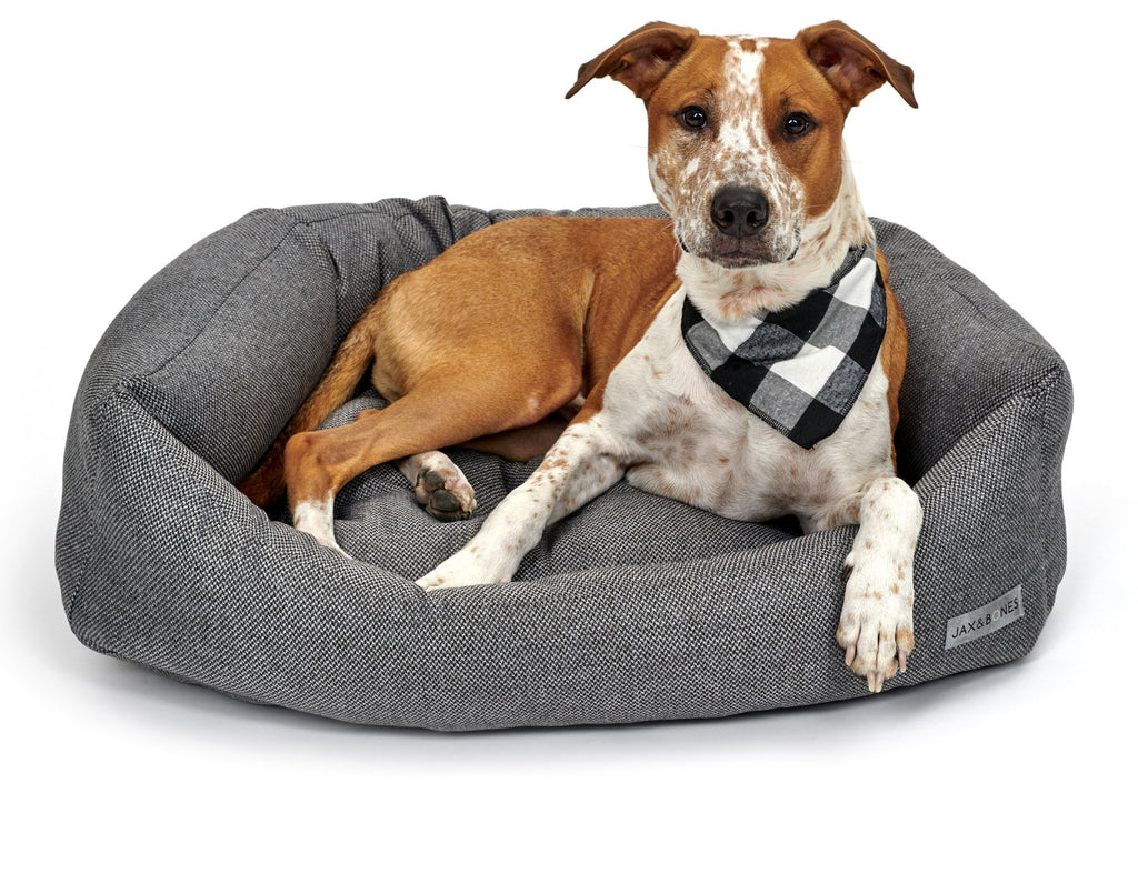 Royce Iron Classic Grey Luxury Semi-Circular Bolster Napper Heavy-Duty Designer Dog Bed