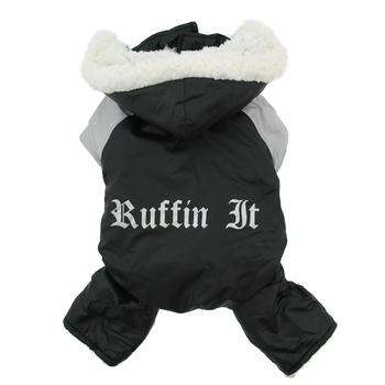 Black & Grey Ruffin It Sherpa Thick Fleece Water-Resistant Designer Dog Snow Suit