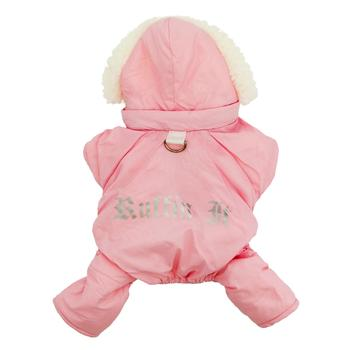 Pink Ruffin' It Water-Resistant Warm Sherpa Thick Fleece Designer Dog Snow Suit