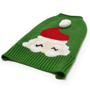 Santa Claus Face Christmas Holiday Green PomPom Puppy Dog Sweater