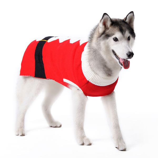 Santa Claus Pet Costume Christmas Holiday Designer Pullover Warm Ultra-Soft Dog Sweater