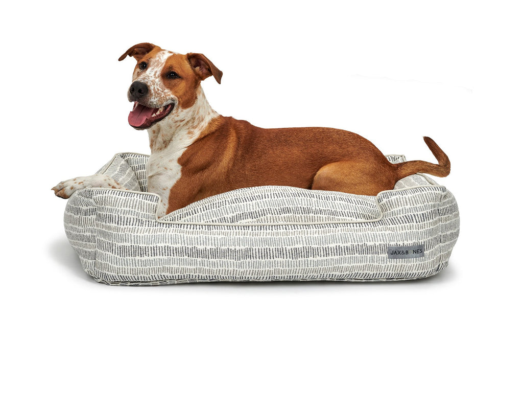 Scribble Creme Textured Woven Lounge Designer High Traffic Durable Luxury Lounge Dog Bed