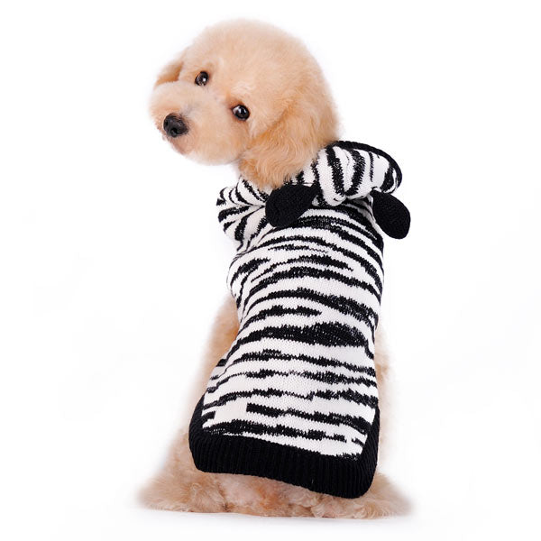 Silvery Zebra Pattern Soft Plush Pullover Hoodie Stylish Designer Pet Dog Sweater