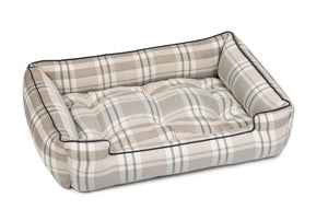 Kensington Fog Plaid Luxury Hypo-Allergenic Joint Support Sleeper Dog Bed