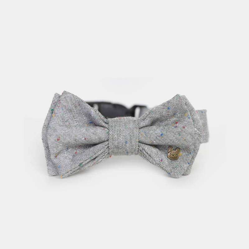 Stella Poppin' Dots Double Bow Tie Barkholic Designer Luxury Trendy Modern Grey Dog Collar
