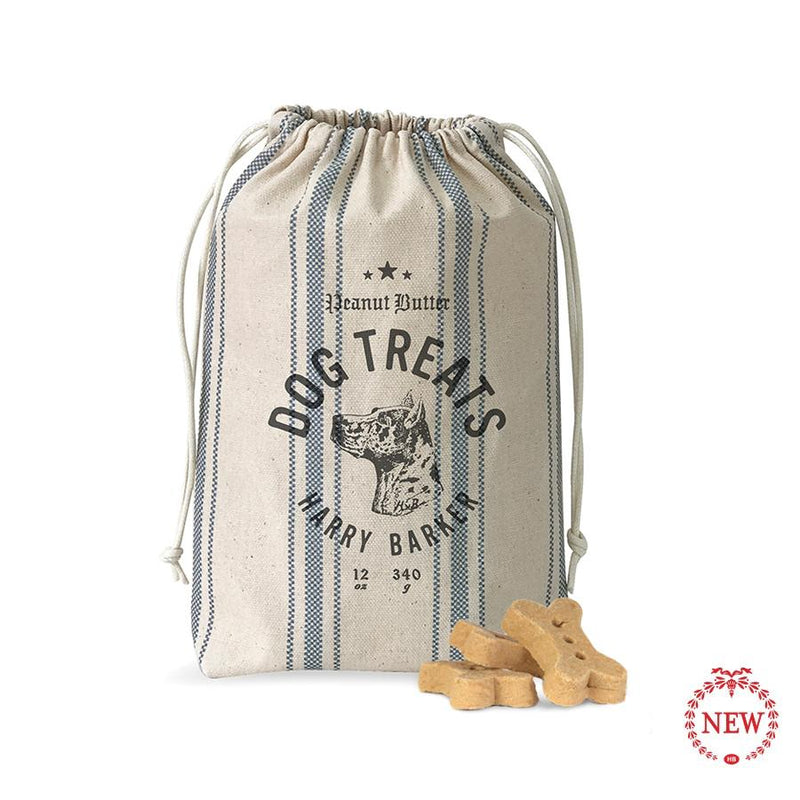 Ticking Dog Bag with Peanut Butter Dog Biscuit Treats