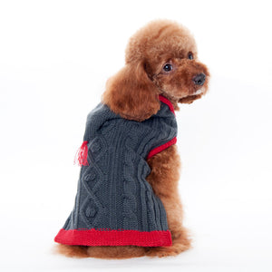 Grey & Red Trim Modern Pullover Tidy Cable Warm Hoodie Designer Dog Sweater