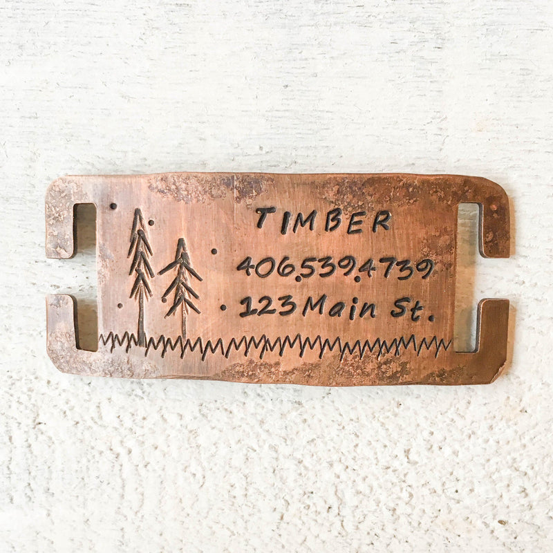 Timber Quiet Artisan Handstamped Pet Dog ID Tag (Personalize)