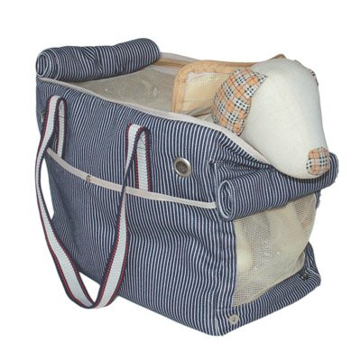 Nautical Stripe Sailor Inspired Canvas Tote Double Shoulder Straps Pet Cat & Dog Purse Bag Carrier