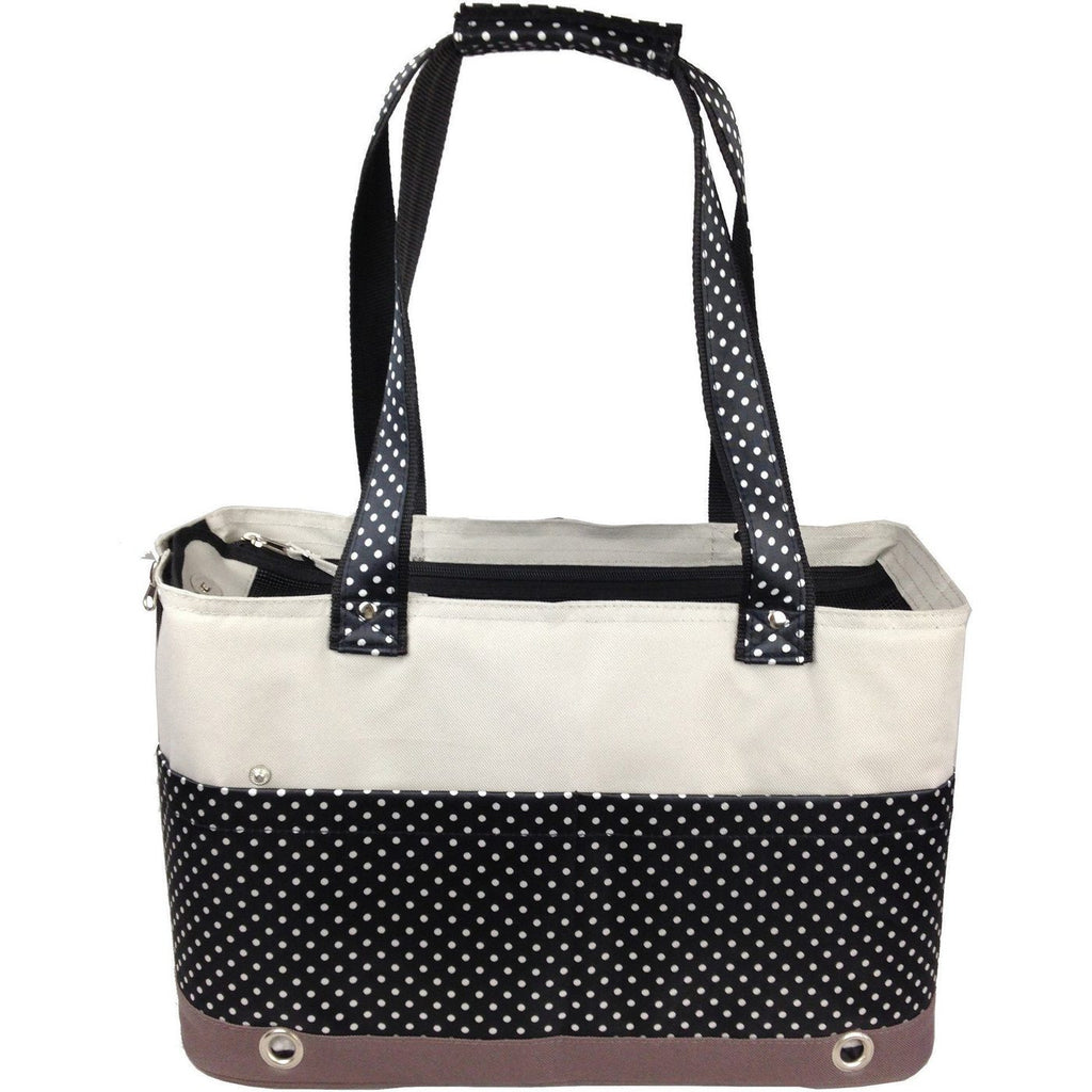 Tote n' Boater Trendy Polka Dots Fashion Over-The-Shoulder Travel Designer Pet Cat & Dog Carrier Bag