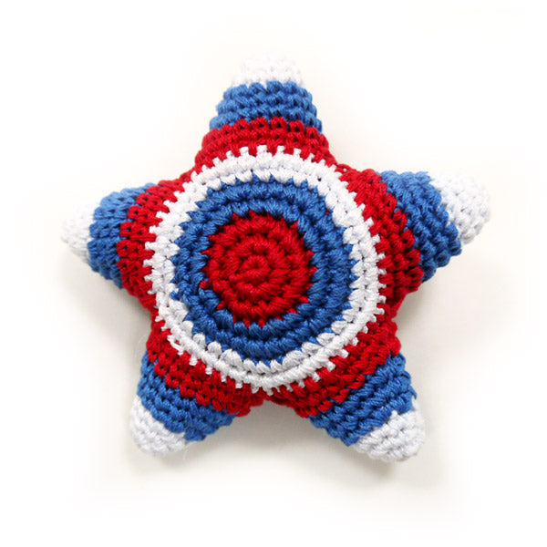 Light Chewer Squeaky American Star Dog Toy