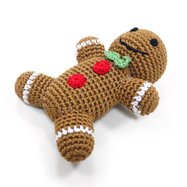 Light Chewer Squeaky Gingerbread Man Dog Toy