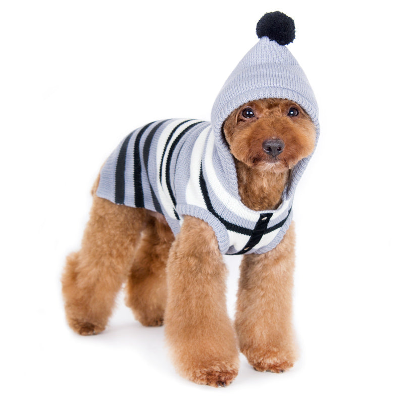 Uneven Stripe Hoodie Designer Pet Dog Sweater
