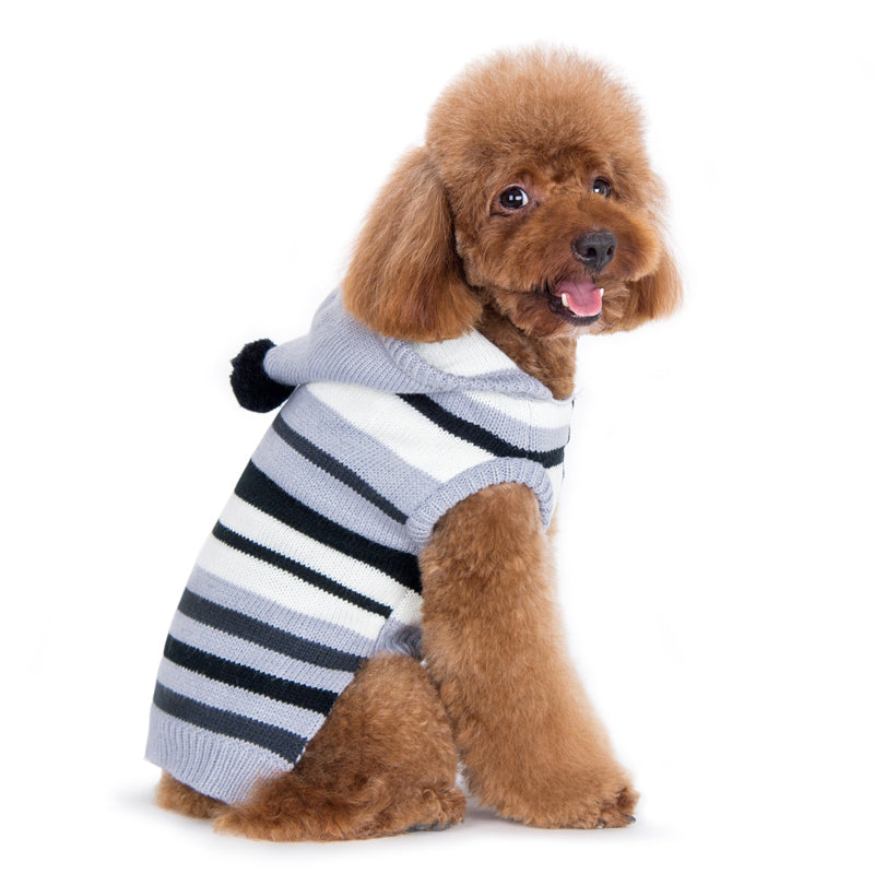 Uneven Stripes Black & Grey Hoodie Pullover PomPom Soft Designer Pet Dog Sweater