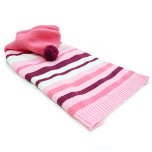 Uneven Pink Stripes Hoodie PomPom Soft Warm Pullover Designer Pet Dog Sweater