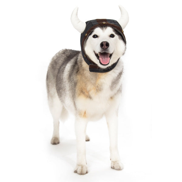 Grey & Brown Viking Warrior Helmet with Plush Horns Ultra-Soft Warm Designer Pet Dog Hat Costume