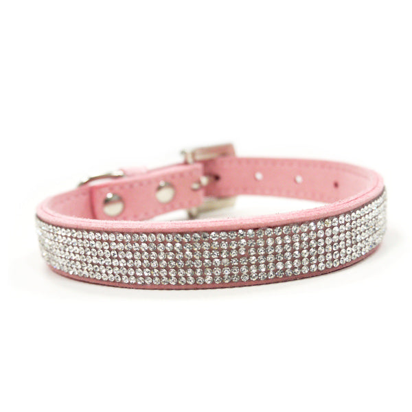 VIP Bling Rhinestone Studded Pastel Pink Soft Faux Suede Dog Collar