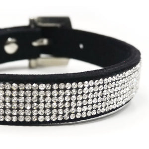 VIP Bling Bling Rhinestone Studded Black Soft Faux Suede Cat & Dog Collar