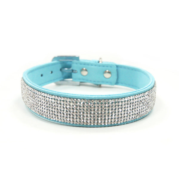 VIP Bling Rhinestone Studded Purple or Teal Soft Faux Suede Dog Collar