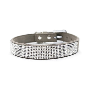 VIP Bling Bling Grey Rhinestone Studded Soft-to-the-Touch Faux Suede Matching Dog Collar & Leash Set