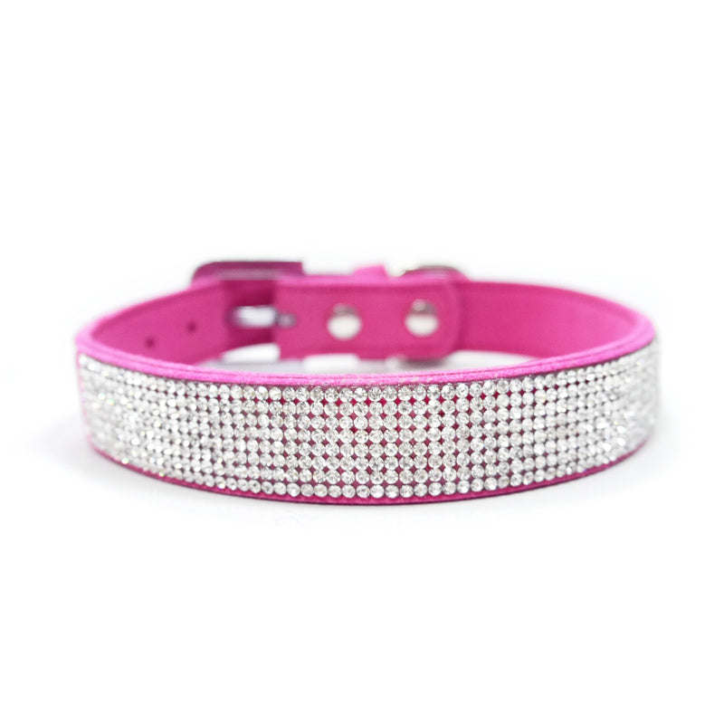 VIP Bling Bling Hot Pink Soft Rhinestone Studded Faux Suede Matching Dog Collar & Leash Set