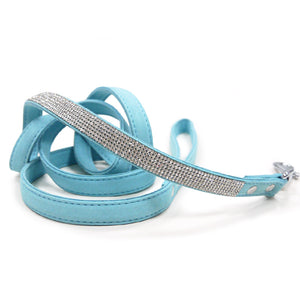VIP Bling Bling Rhinestone Studded Soft Faux Suede Dog Leash