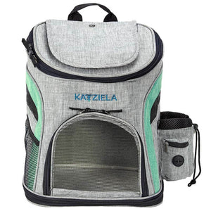 Katziela Designer Grey & Green Voyager Outdoor Travel Fleece Lined Cozy Soft Pet Cat & Dog Backpack