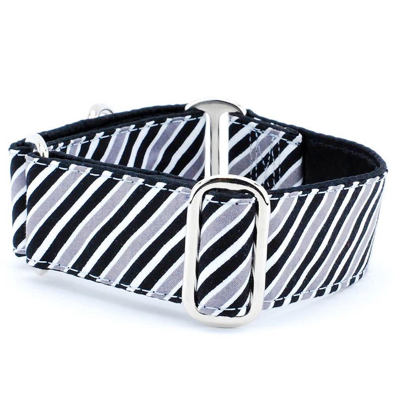 Debonair Black White & Grey Stripes Premium Designer Handmade Pet Dog Collar